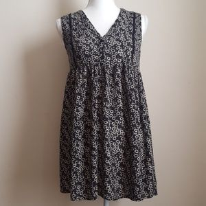 Aqua Black Flower Print Baby doll Tunic Top S
